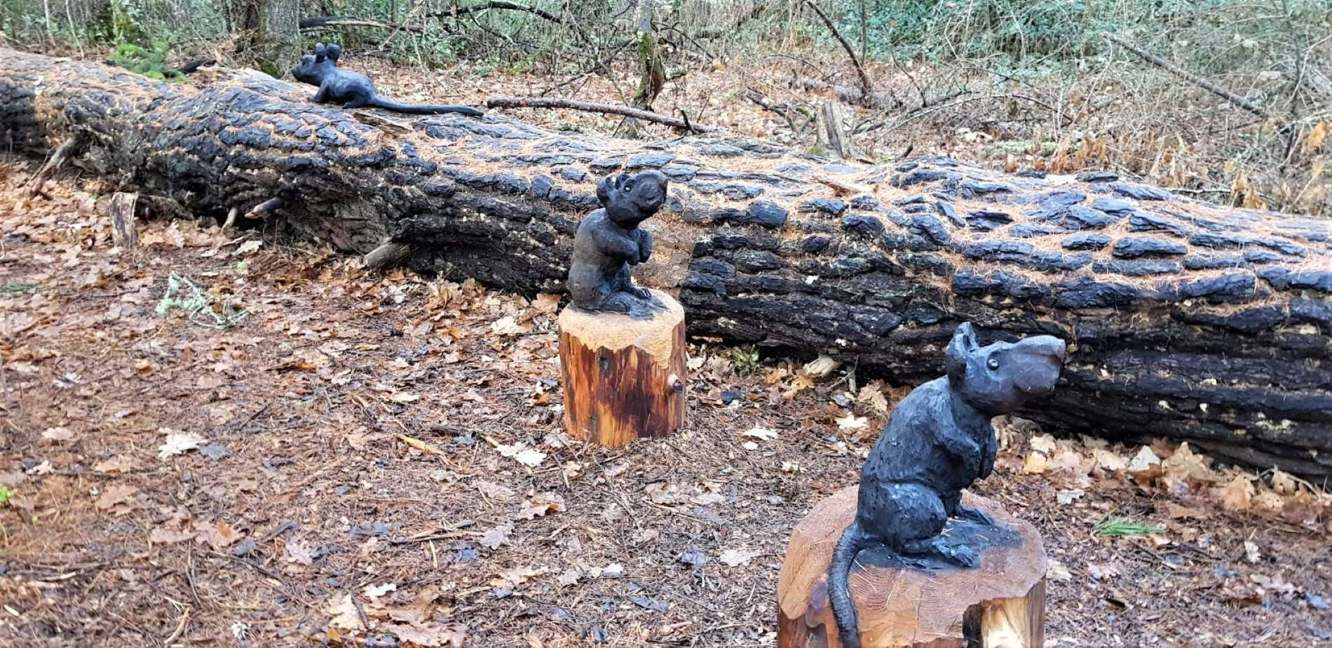 3 scared mice Art in the Forest