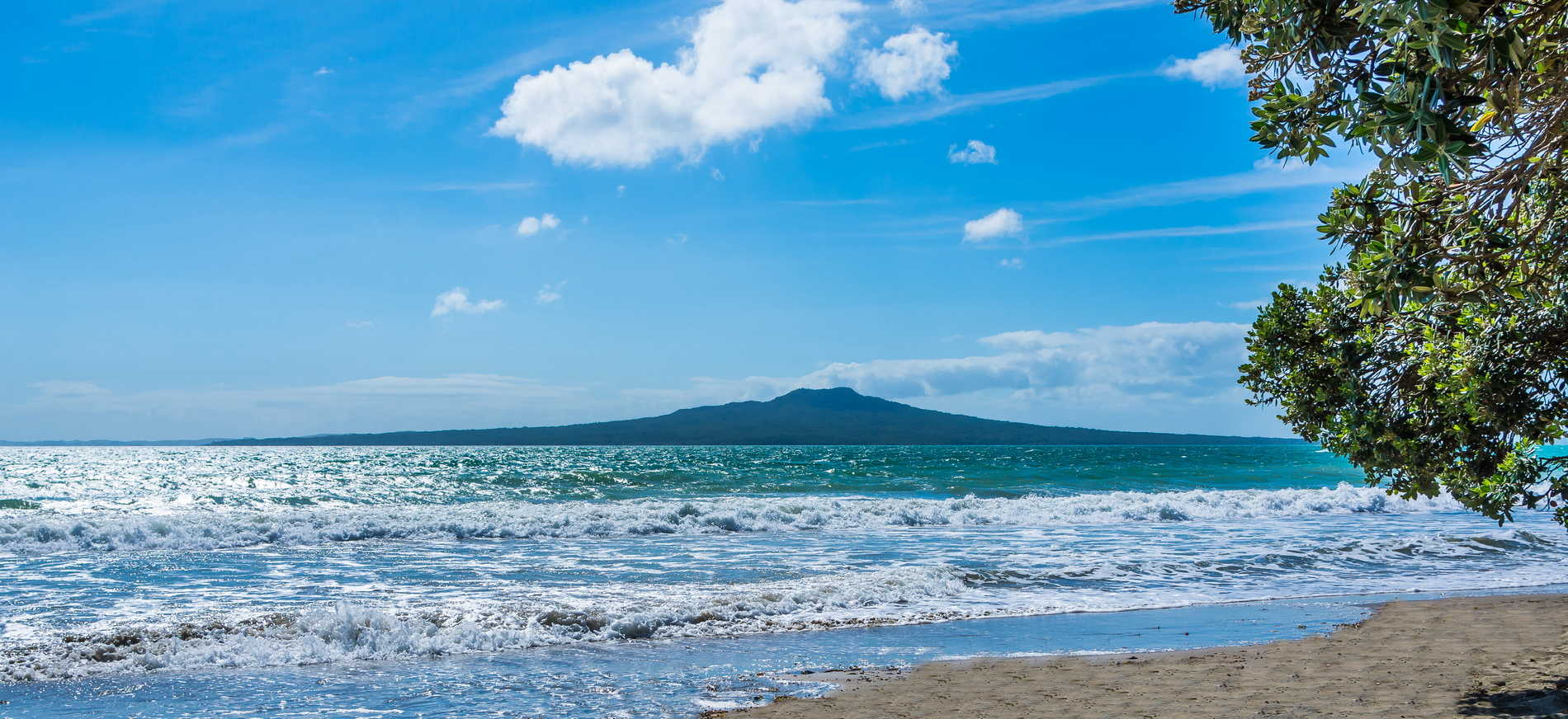 Takapuna Beach and Rogitoto Island