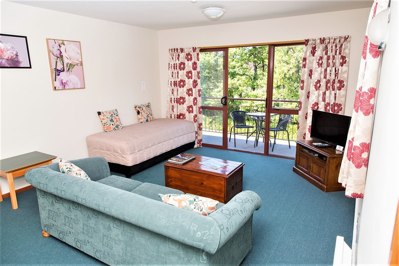 Spacious living area, shows single bed